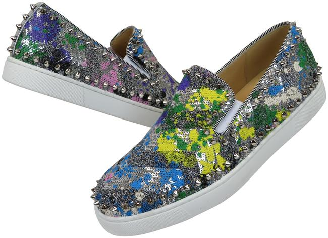 Item - Multi-color Multi Pik Boat Sequins Silver Tone Spike Skaters Sneakers Flats Size EU 40 (Approx. US 10) Regular (M, B)
