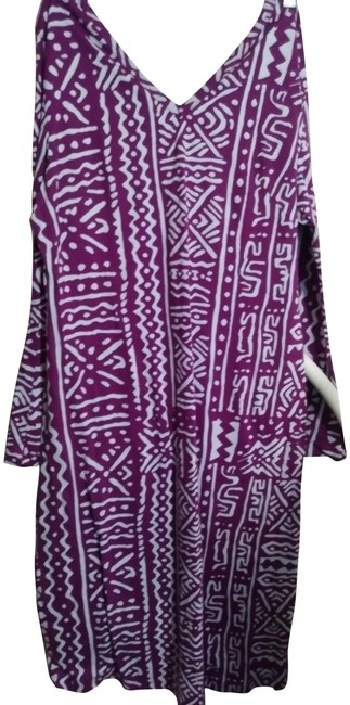 Item - Purple and White Soft Mid-length Casual Maxi Dress Size 12 (L)