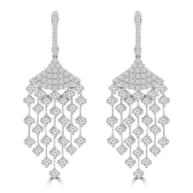 Item - 14k White Gold 3.75 Ct Round Cut Diamond Chandelier In 14 Kt Earrings