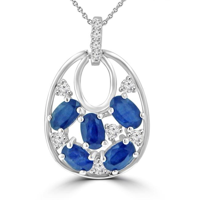 Item - 14k White Gold 1.81 Ct Round Cut Diamond Oval Shaped Sapphire Pendant Necklace