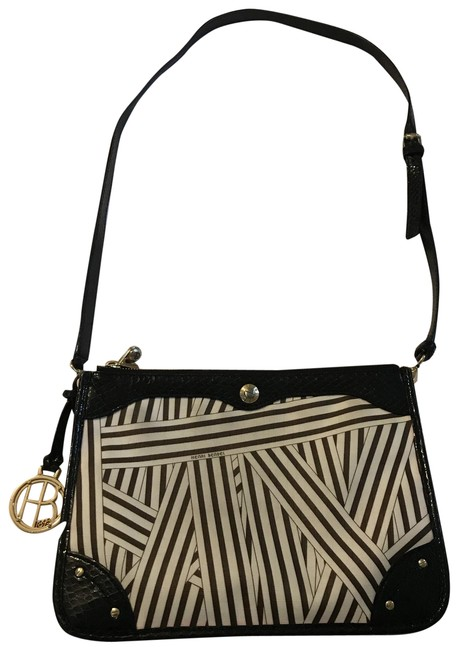 Item - Black and White Coated Canvas Cross Body Bag