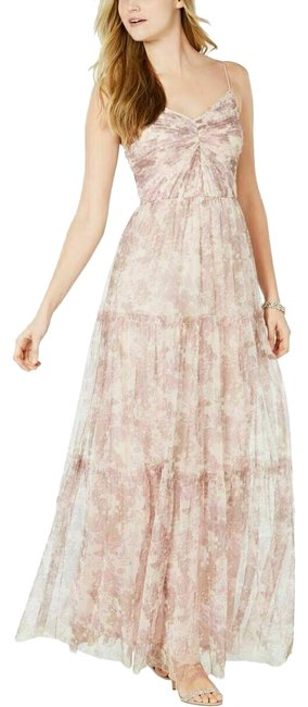 Item - Pink / Ivory Women's Chiffon Floral Gown Long Casual Maxi Dress Size 12 (L)