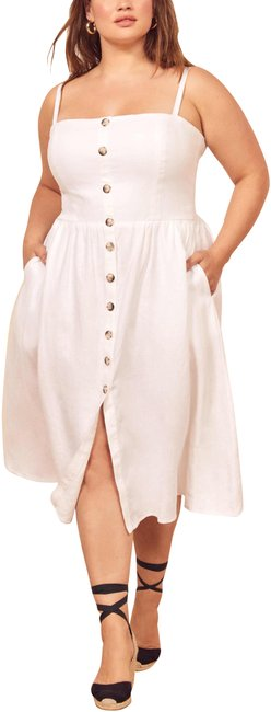 Item - White Tori Front Buttons Smocked Back Bodice Mid-length Night Out Dress Size 16 (XL, Plus 0x)