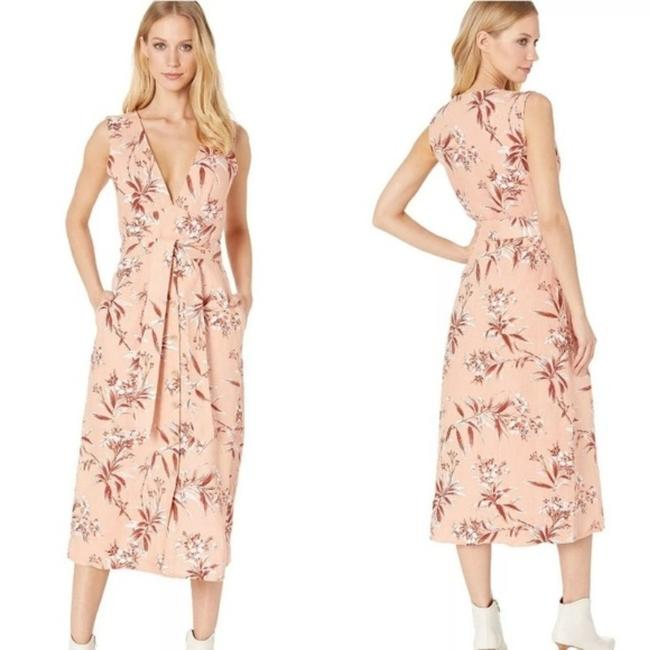 Item - Pink Floral Linen Ethelda Long Casual Maxi Dress Size 4 (S)