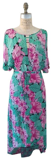 Item - Green & Pink Floral Faux Wrap Long Casual Maxi Dress Size 6 (S)