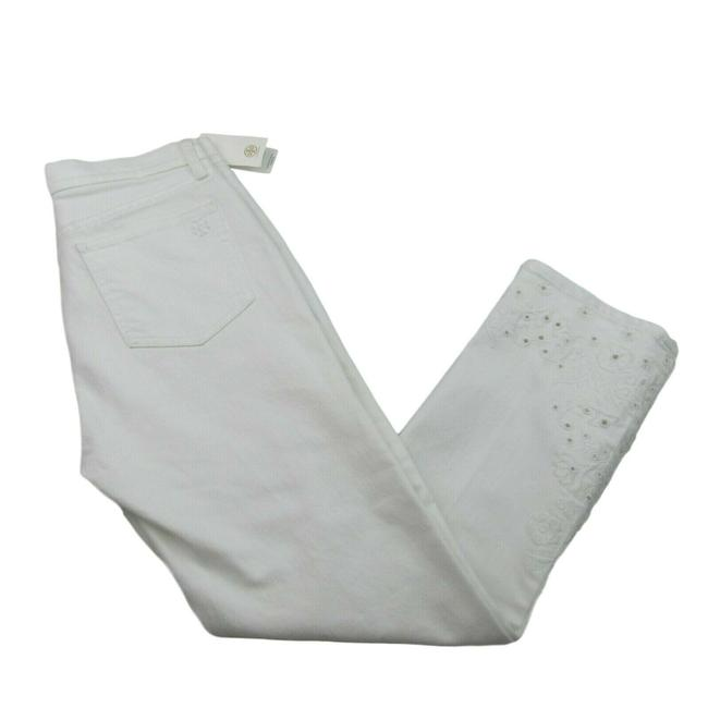 Item - White Light Wash Embroidered Keira Denim Classic Fit Straight Leg Jeans Size 27 (4, S)