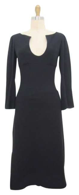Item - Black Flounce Mid-length Formal Dress Size 4 (S)