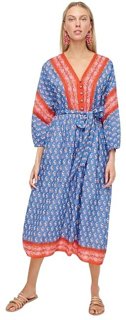 Item - Blue/Red V-neck Cover-up Block Print Mid-length Casual Maxi Dress Size 8 (M)