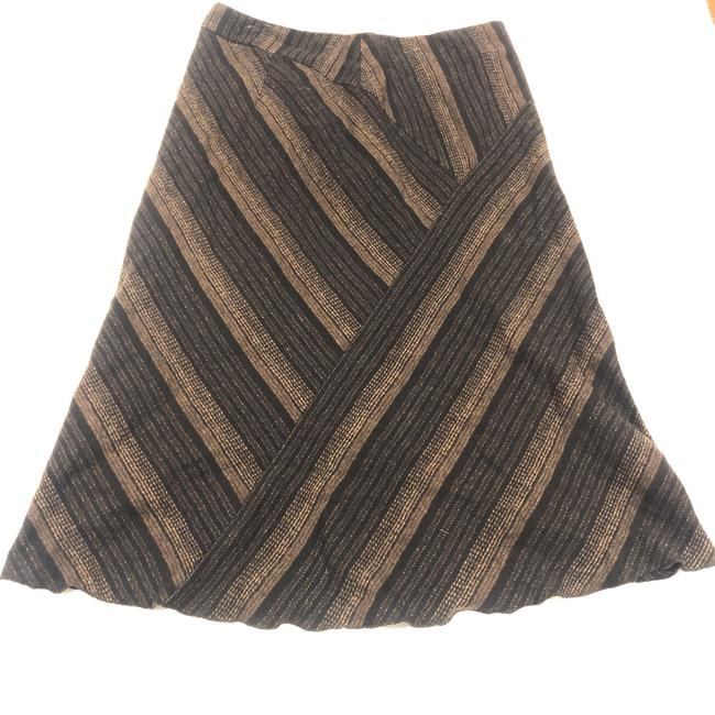 Item - Brown Virgin Wool Striped Midi Skirt Size 12 (L, 32, 33)