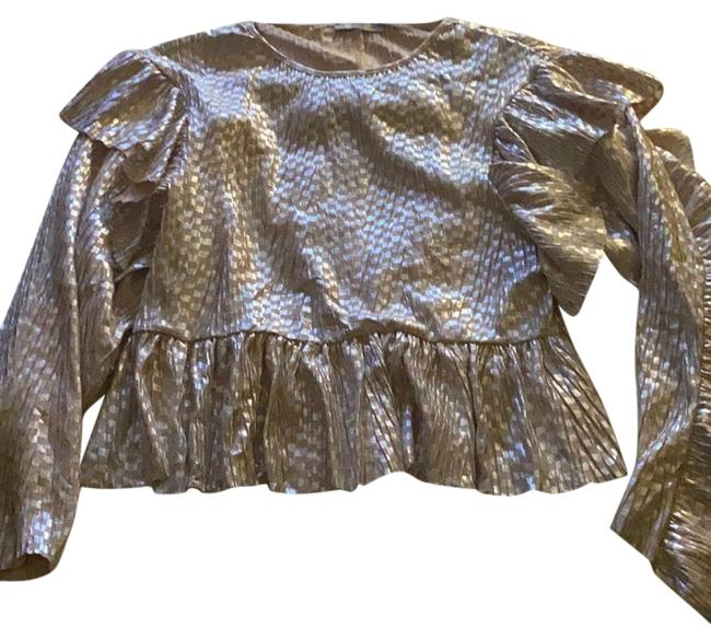 Item - Silver Metallic Blouse Size 8 (M)