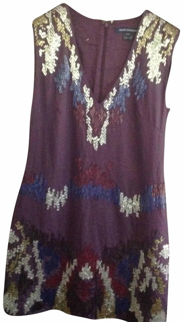 Item - Purple and Silver Embellished Short Cocktail Dress Size 6 (S)