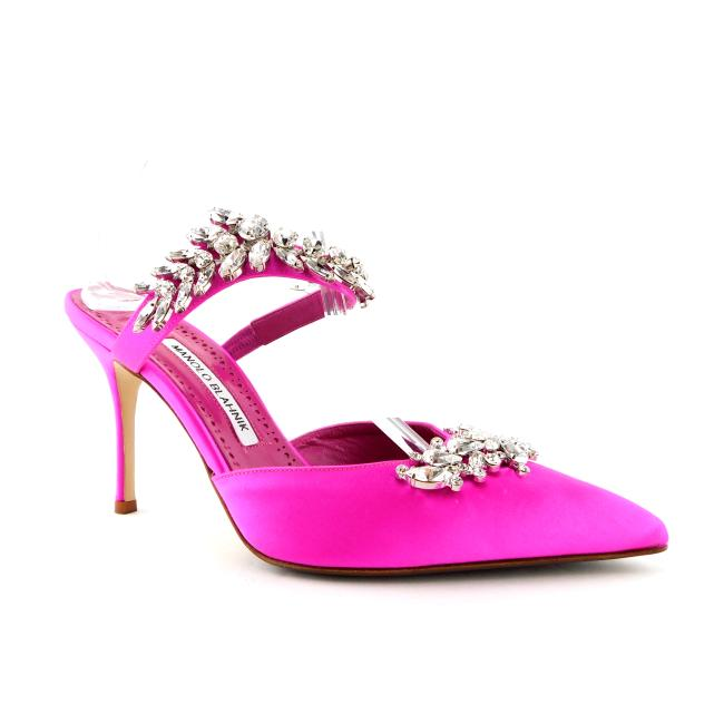 Item - Hot Pink Satin Crystals Embellished Mary Jane Heel Mules/Slides Size EU 38 (Approx. US 8) Regular (M, B)
