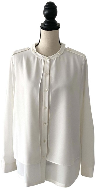Item - White Polyester Shirt Button-down Top Size 8 (M)