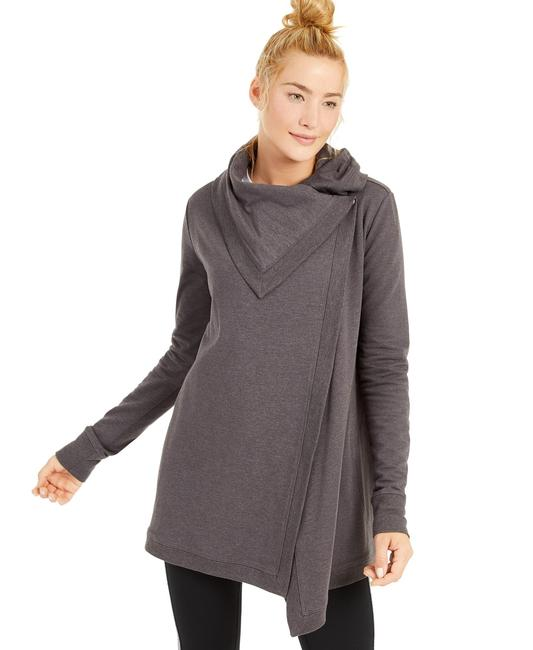 Item - Charcoal Heather Long Sleeve Snap Front Wrap Top Activewear Outerwear Size 6 (S)