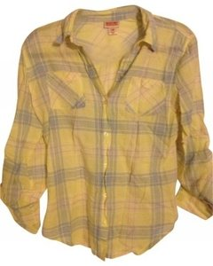 Mossimo Supply Co. Button Down Shirt Yellow Plaid