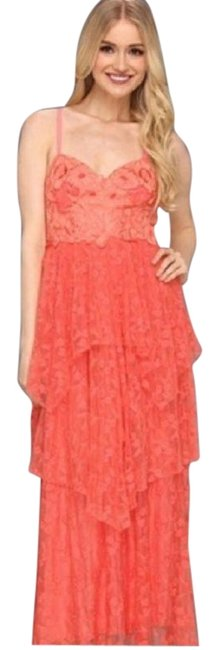 Item - Coral Tiered Lace Maxi Gown Formal Dress Size 12 (L)