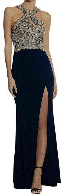 Item - Midnight Blue Women's Embellished Halter Neck Gown Pageant Prom Long Formal Dress Size Petite 10 (M)