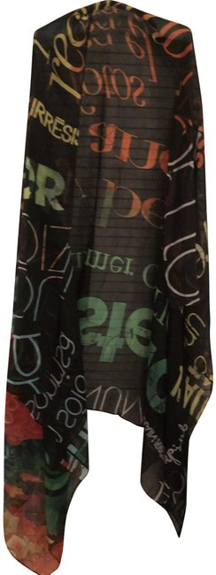 Item - Multi/ Black Background Color with A Scarf/Shaw Scarf/Wrap