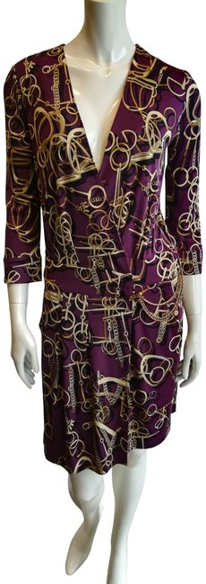 Item - Purple Gold Snaffle Mid-length Short Casual Dress Size 6 (S)