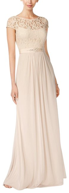 Item - Blush Lace Illusion Gown Prom Bridesmaid Long Formal Dress Size 14 (L)