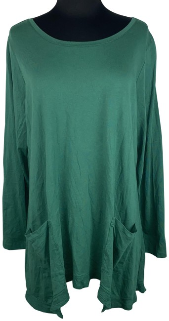 Item - Emerald Stone 1x Cotton Modal Long Sleeve with Rib Details Blouse Size 20 (Plus 1x)