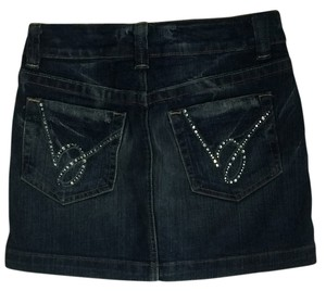 Other Mini Rhinestone Mini Skirt Denim dark wash