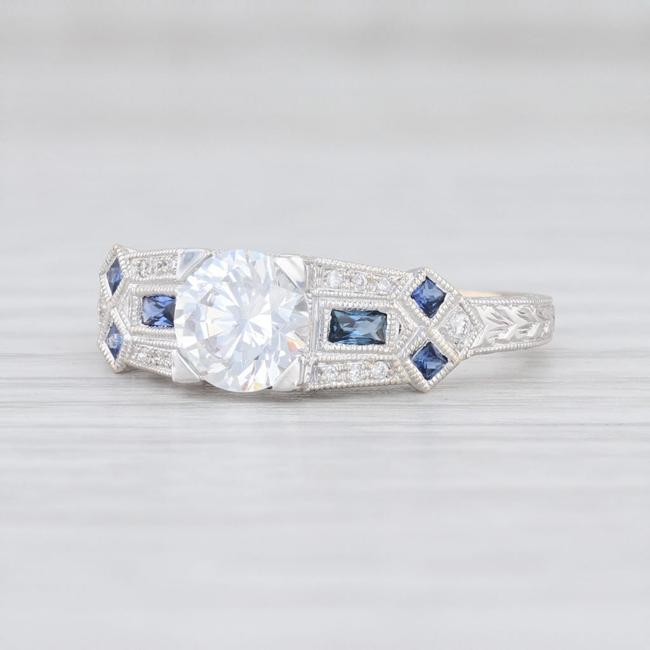 Item - White Gold Semi Mount Diamonds Sapphire Engagement Ring