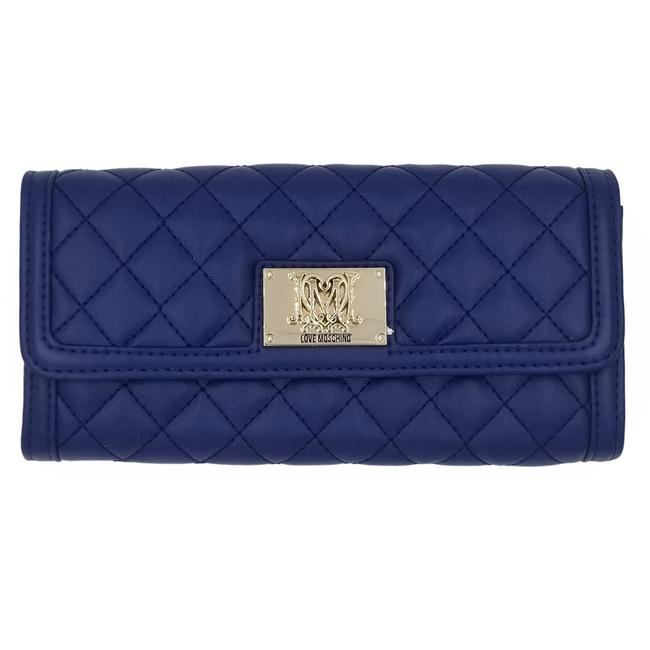 Item - Signature Super Quilted Deluxe Continental Luxury Wallet Gold Blue Leather Clutch