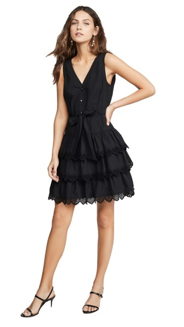Item - Black Shell Embroidered Short Night Out Dress Size 8 (M)