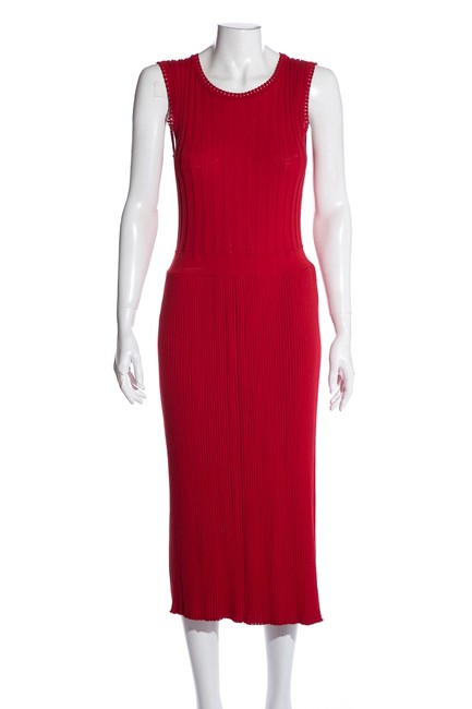 Item - Red Sleeveless Long Pleated Short Casual Dress Size 10 (M)