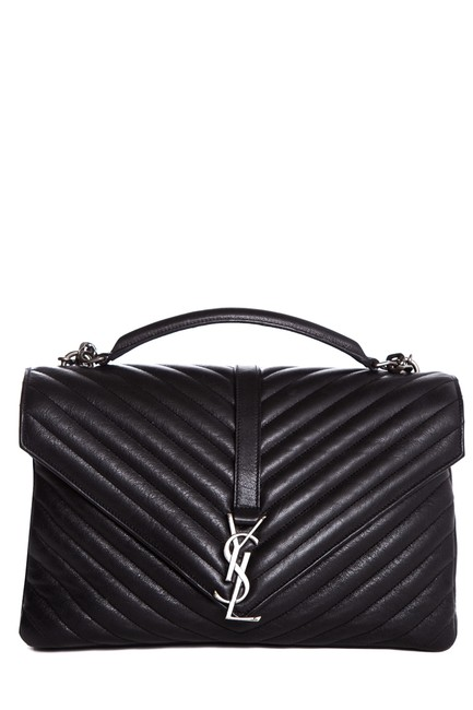 Saint Laurent Monogram Collège Yves Matelasse Chevron Quilted-leather Sat Black Leather Satchel Saint Laurent Monogram Collège Yves Matelasse Chevron Quilted-leather Sat Black Leather Satchel Image 1