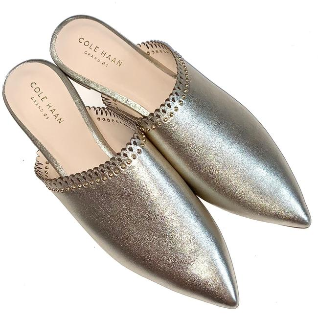 Item - Soft Gold Raelyn Studded Leather Mules/Slides Size US 8 Regular (M, B)