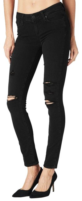 Item - Black Distressed Denim Verdugo Carbon Deconstructed Ripped Skinny Jeans Size 24 (0, XS)