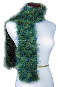 Now And Zhen NOW AND ZHEN * FAUX FUR SCARVES * SHADES OF GREENS & BLUES