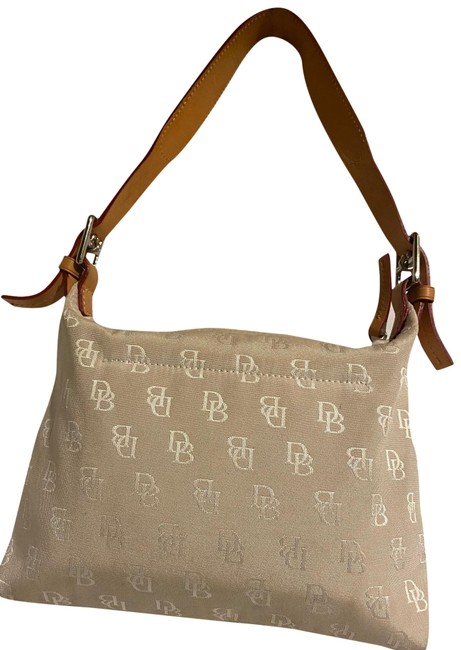 Item - Beige/ Brown Nylon: Leather Baguette