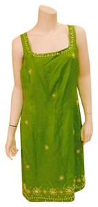 Jessica Howard short dress Lime Green Linen Embroidered on Tradesy