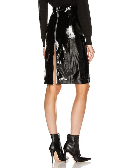 "Item - New Black Patent Leather Full Zip Nipped Waist ""Daisy"" Skirt Size 6 (S, 28)"