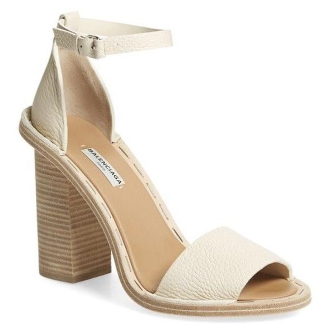 Item - White Chunky Wood Heel Ankle Strap Sandals Size EU 39.5 (Approx. US 9.5) Regular (M, B)
