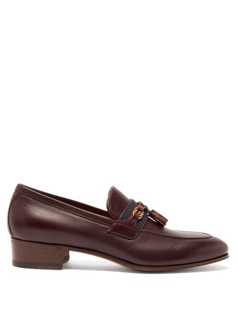 Item - Burgundy Mf Paride Web-striped Leather Loafers Formal Shoes Size EU 34.5 (Approx. US 4.5) Regular (M, B)