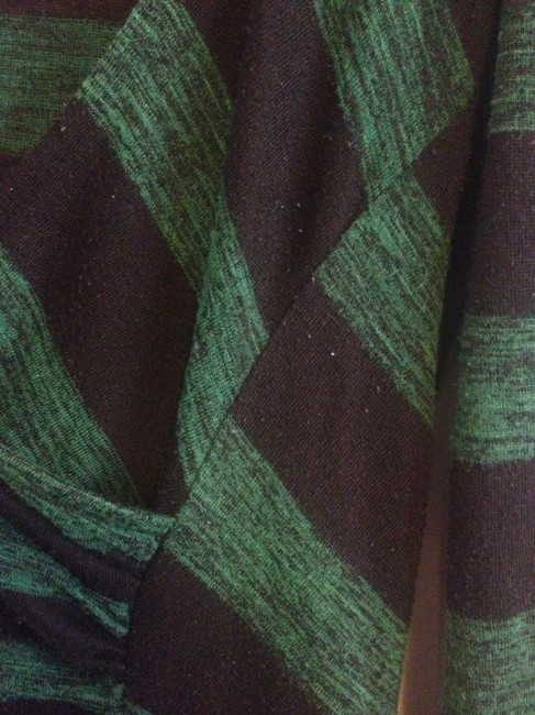 Urban Outfitters Striped Three Quarter Length Sleeves Evergreen Gathered Top Green/Black