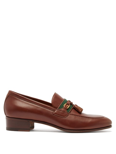 Item - Brown Mf Paride Web-striped Leather Loafers Formal Shoes Size EU 37.5 (Approx. US 7.5) Regular (M, B)