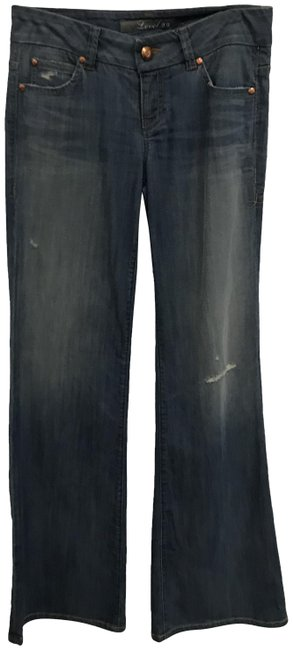 Item - Blue Distressed Classic Five-pocket Wide Flare Leg Jeans Size 27 (4, S)
