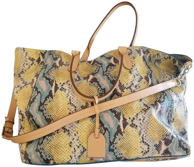 Item - Sold Out Snake Python Tote Blue Yellow Snakeskin Leather Weekend/Travel Bag