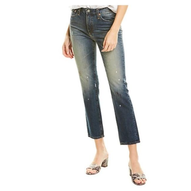 Item - Blue Distressed The Isabelle High Rise Crop Straight Leg Jeans Size 28 (4, S)