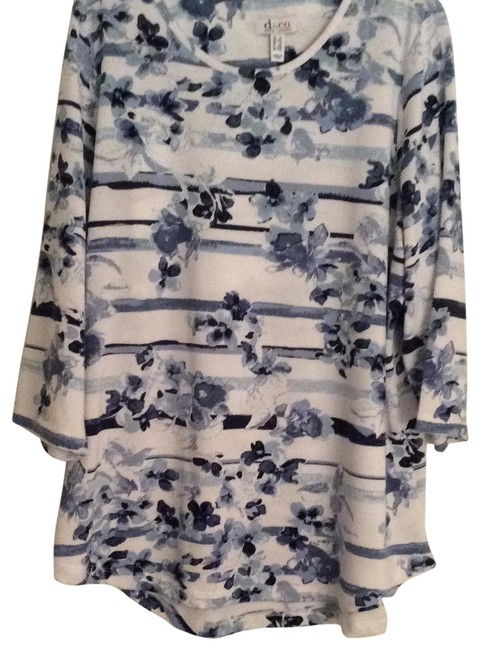 Item - Blue and White Tunic Size 18 (XL, Plus 0x)