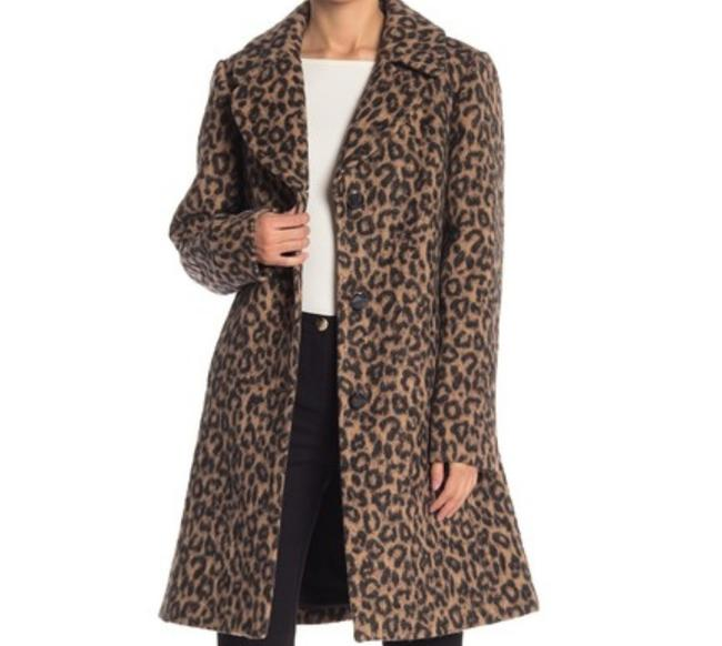 Item - Brown Camel A Frame Leopard Wool Blend Coat Size Petite 2 (XS)