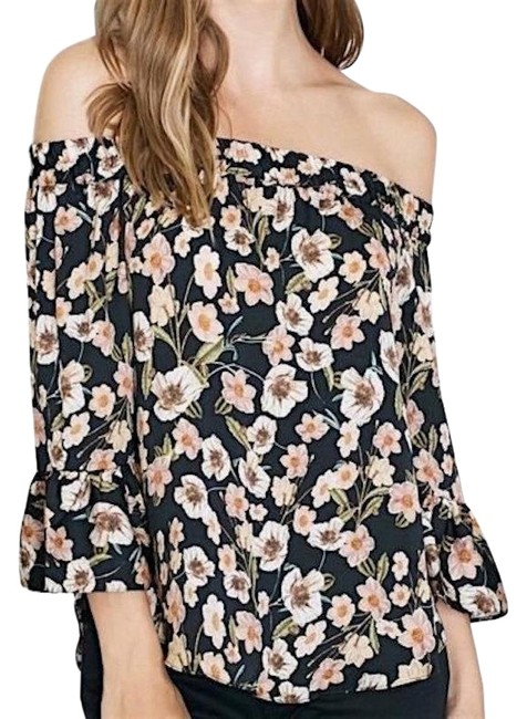 Topshop Black Off Shoulder Floral Blouse Size 8 (M) Topshop Black Off Shoulder Floral Blouse Size 8 (M) Image 1