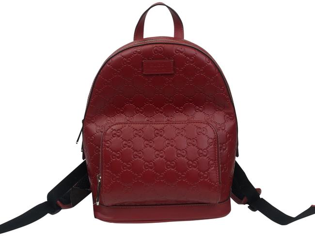Gucci Red Monogram Leather Backpack Gucci Red Monogram Leather Backpack Image 1
