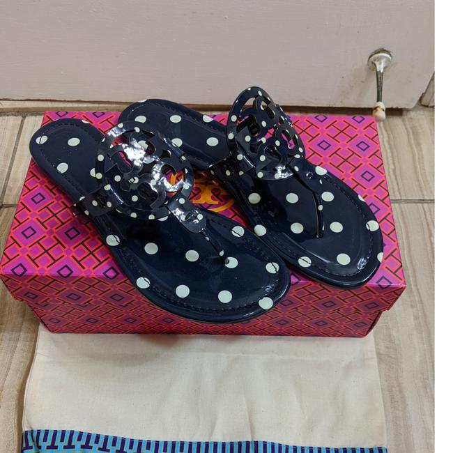 Tory Burch Navy Polka Dot Miller Sandals Size US 7 Regular (M, B) Tory Burch Navy Polka Dot Miller Sandals Size US 7 Regular (M, B) Image 1