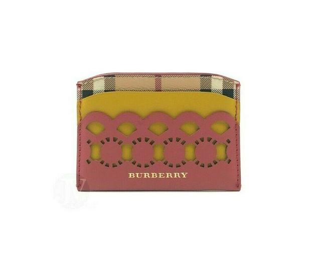 Item - Antique Rose Pink Yellow Horseferry Haymarket Check Izzy Leather Card Case Wallet